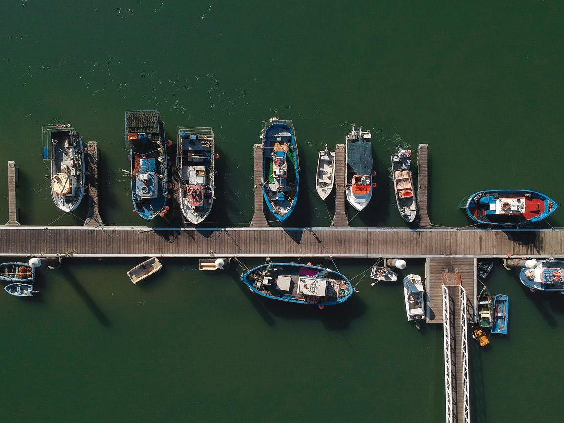 Aerial view of boats in the Ria Formosa Portugal