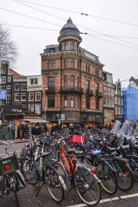 The amount of bikes in Amsterdam in The Netherlands