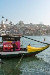 Boat cruising the Douro's river in Porto