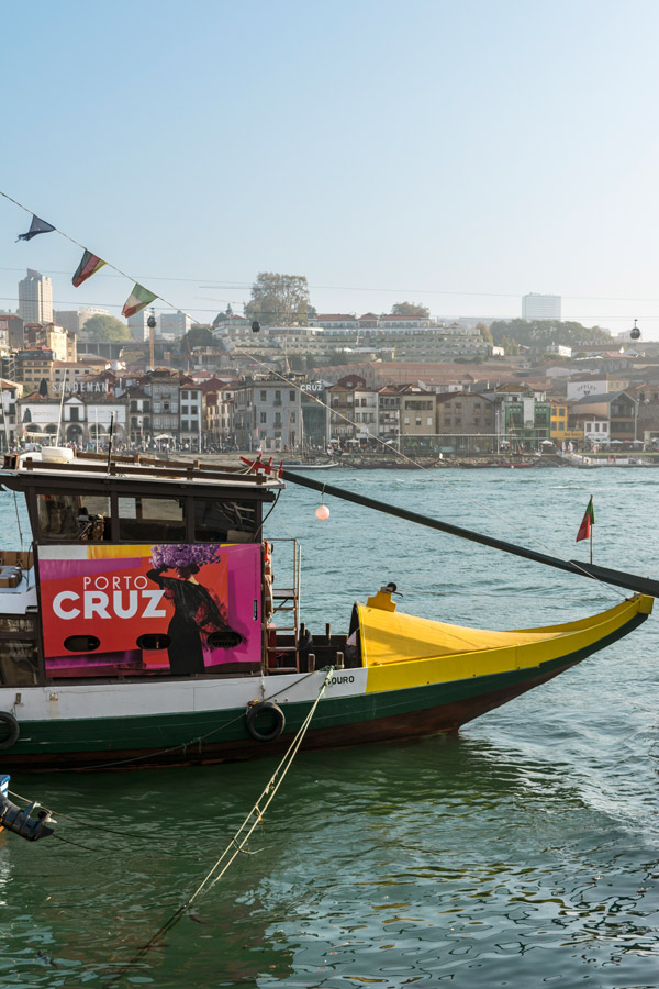 Boat cruising the Douro's river in Porto