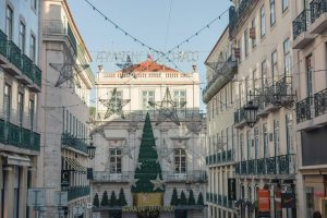 Christmas decorations in downtown Lisbon