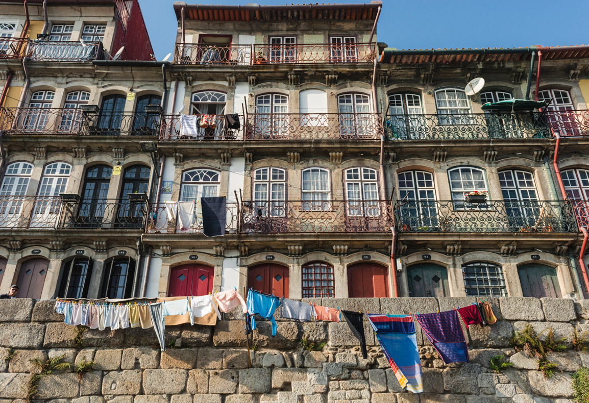 Row of houses in Porto's Ribeira area