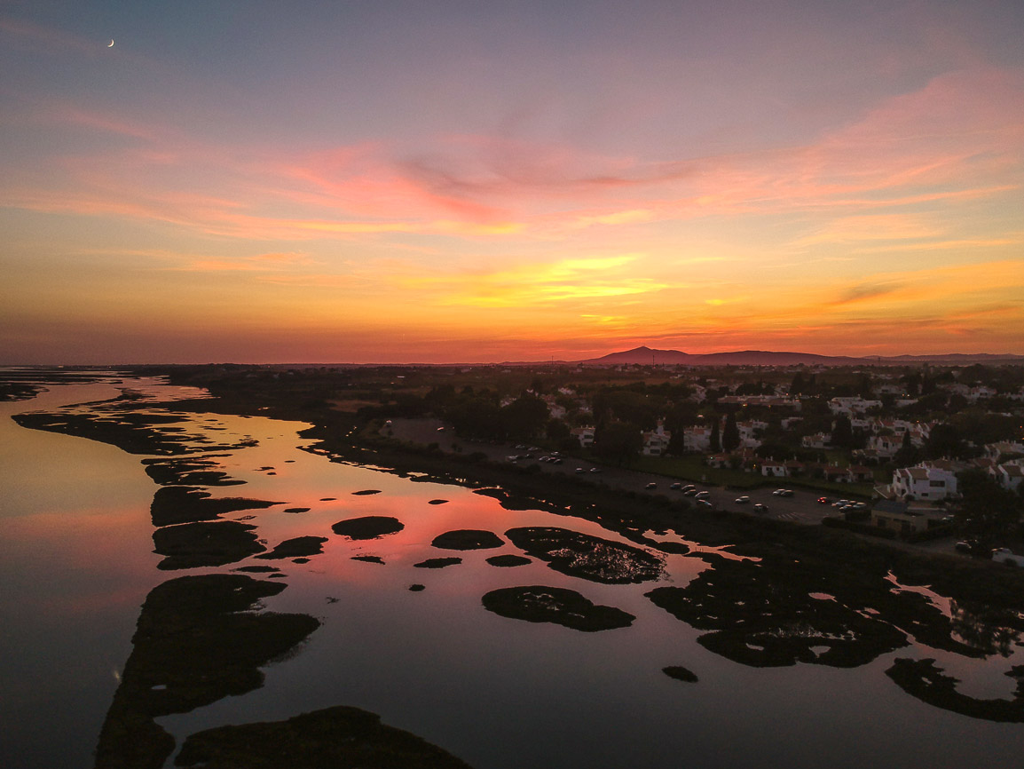 Stunning sunset in Algarve's Ria Formosa
