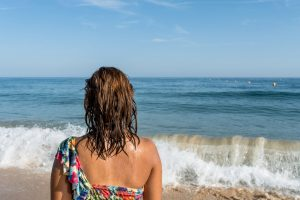 Maria enjoying the warm sea in Algarve for a few days