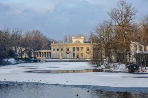 Frozen lake in Warsaw's beautiful Lazienski Park