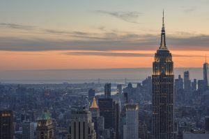 Amazing sunset over New York from the Top of the Rock viewpoint