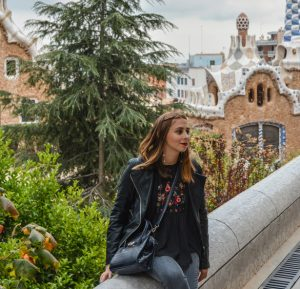 Maria at the Guell Park in Barcelona