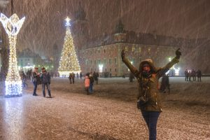 Crazy snowfall in one of Warsaw's main squares