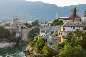 Beautiful and memorable sunset over Mostar