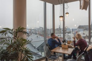 The Blue Amsterdam Cafe and Restaurant has great views to the city