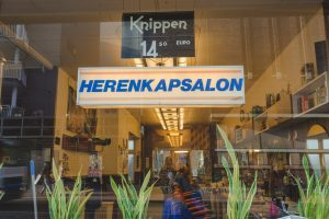 The up and coming De Pijp area in Amsterdam is filled with picturesque establishments such as this hair salon