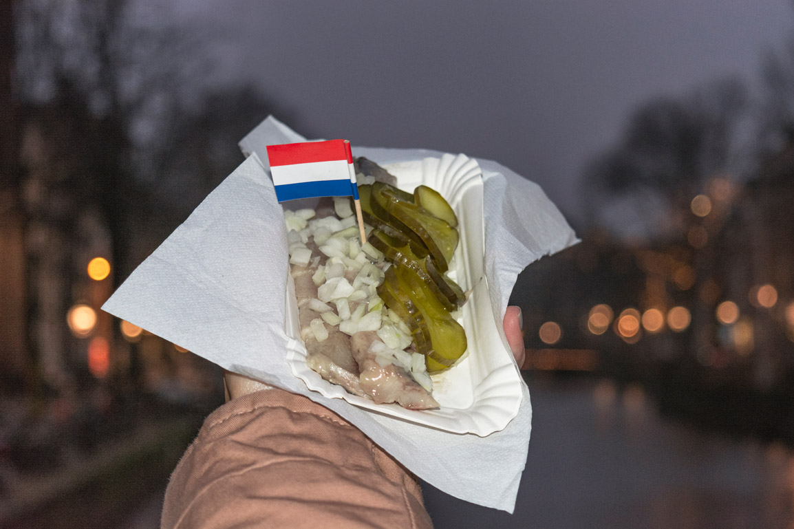 Raw herring is a typical delicacy you can find across the city of Amsterdam