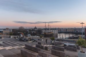 The rooftop at the NEMO museum in Amsterdam is a great place to watch the sunset