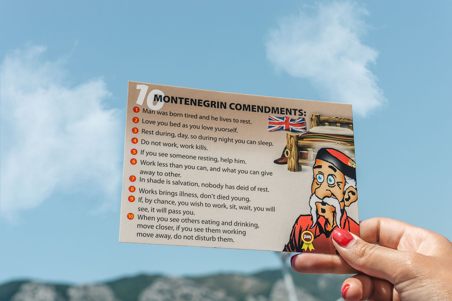 A postcards that satirically lists Montenegrin commandments