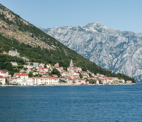 View to Perast as seen from the small island of Our Lady of the Rocks