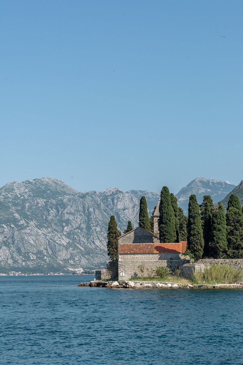 Upclose view to the St. George Island from Our Lady of the Rocks in Montenegro