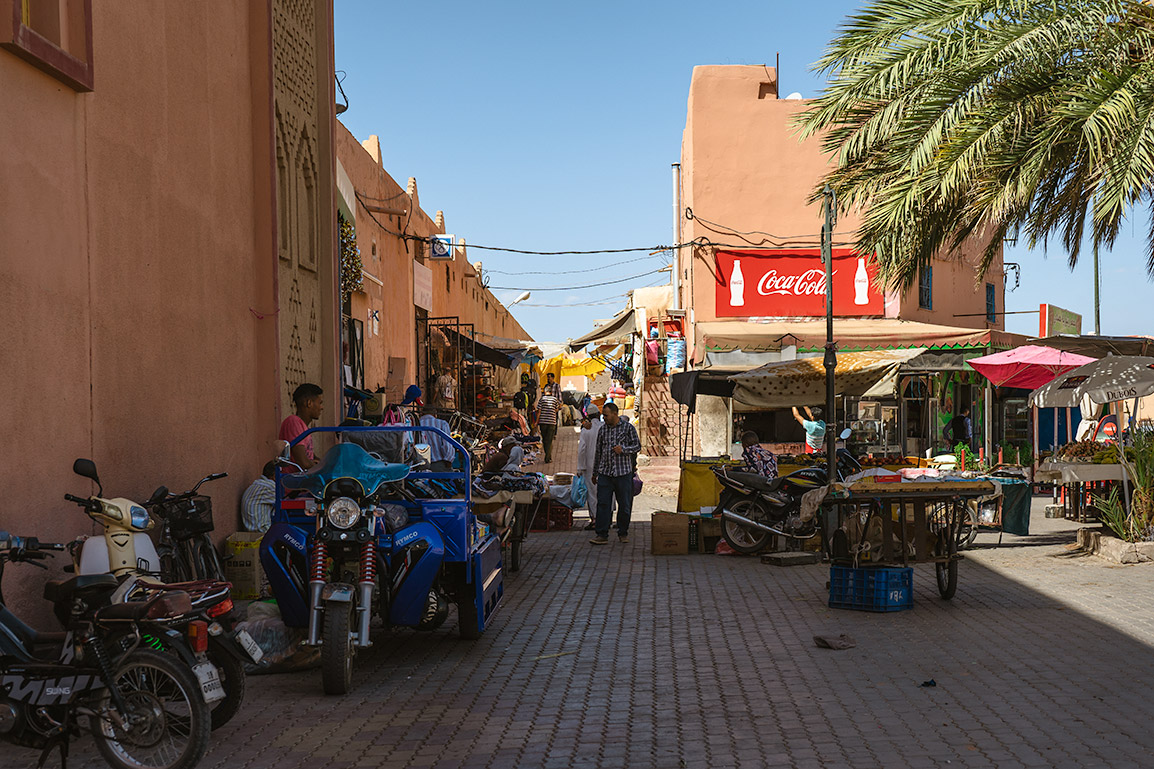 Stalls selling fruit near the center of Ouarzazate