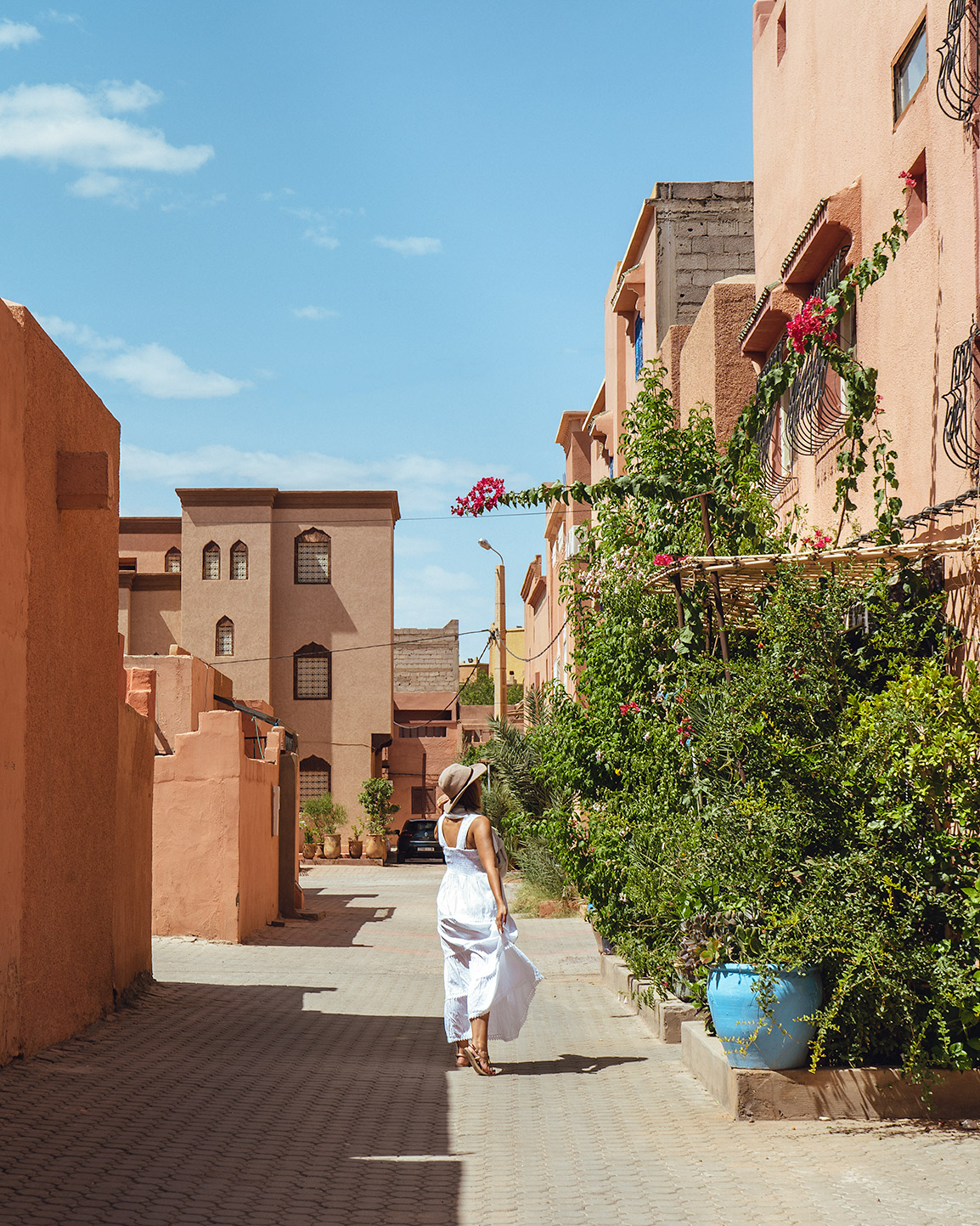 Maria walking on a streets of Ouarzazate