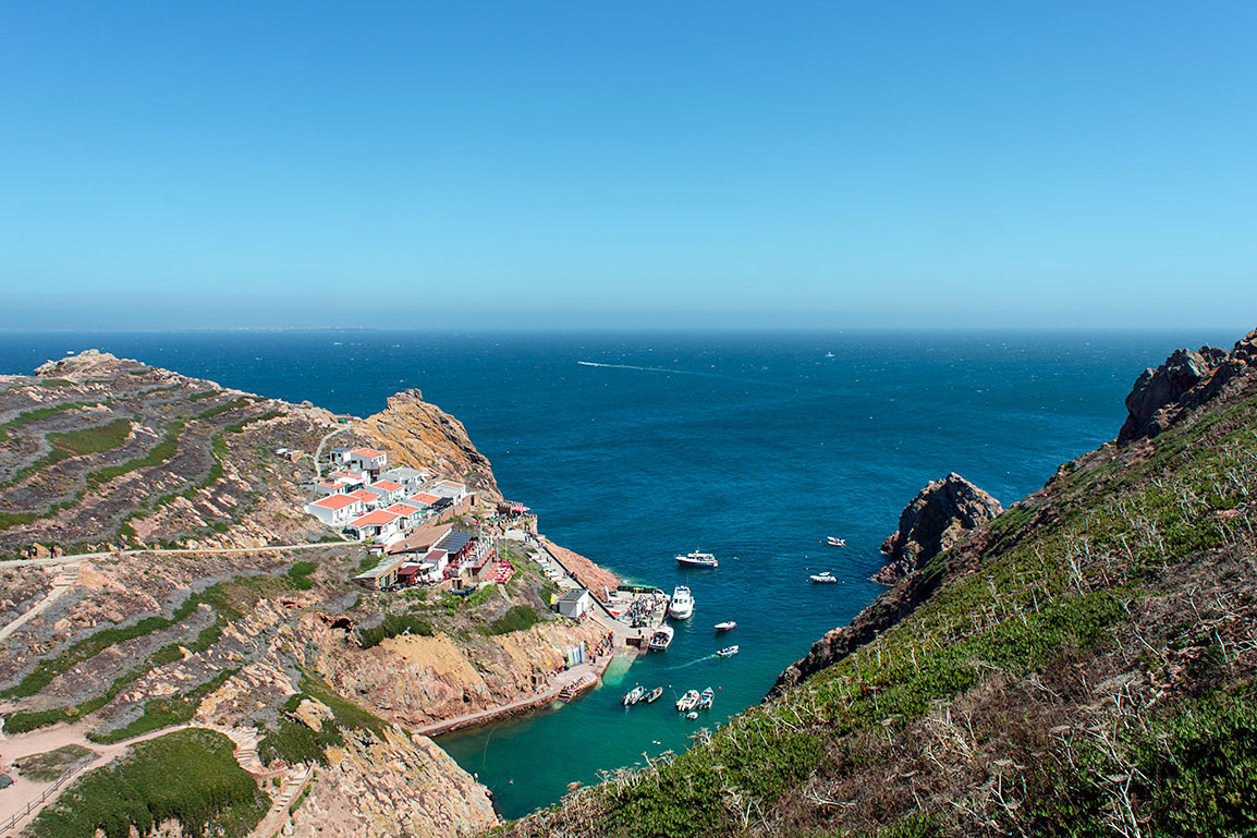 Berlengas island, in Portugal: view to the small harbor from one of the hiking trails with green and yellow vegetation