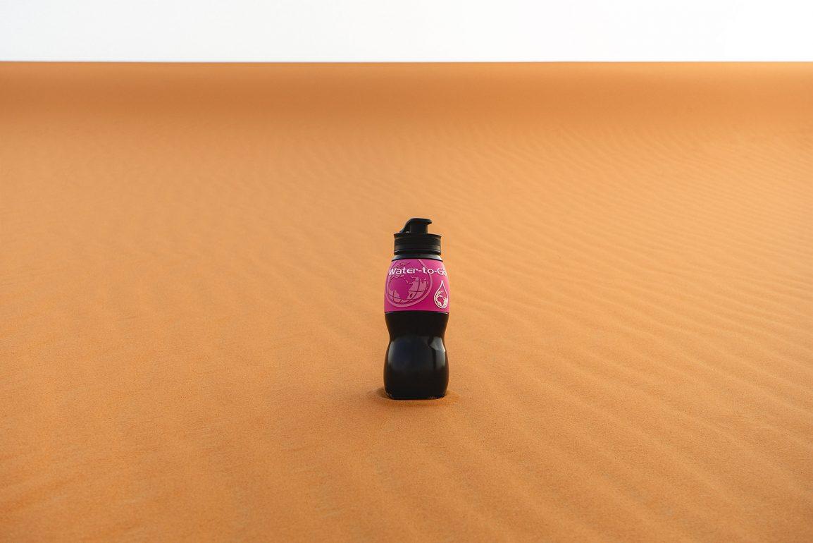 Water-to-Go bottle in the desert