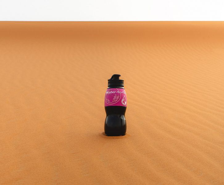 Water-to-Go bottle in the desert