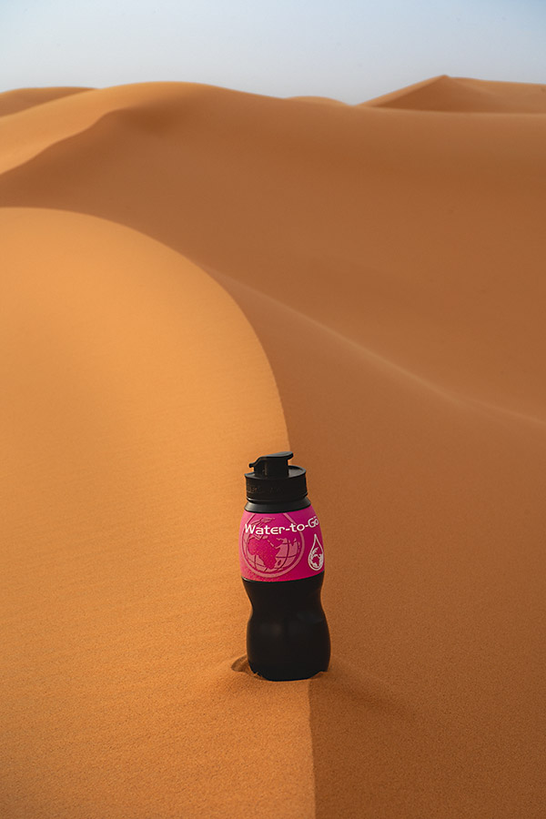 Water-to-Go bottle in a sand dune