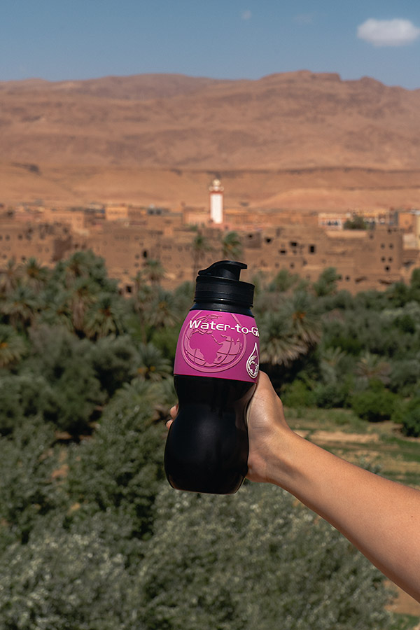 A pink Water-to-Go bottle
