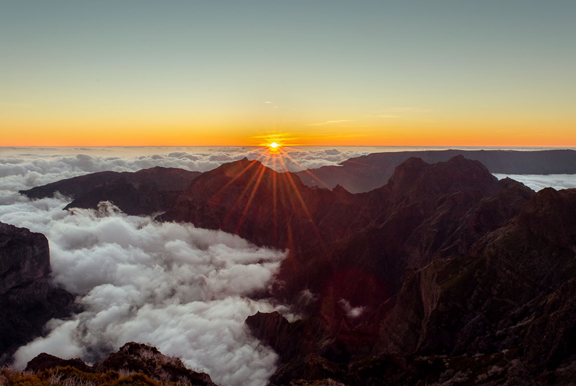 Hiking to Pico Ruivo was magical to witness a magical sunset above the mountains and the clouds