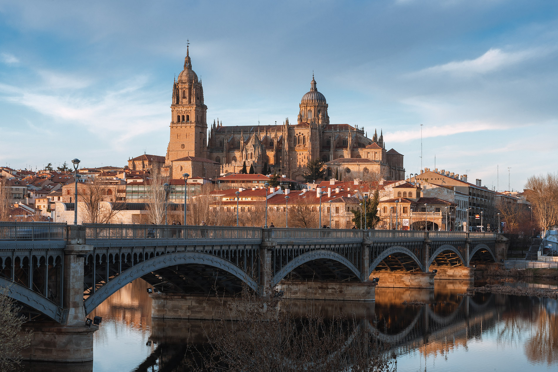 A cityscape of Salamanca in Spain during sunset
