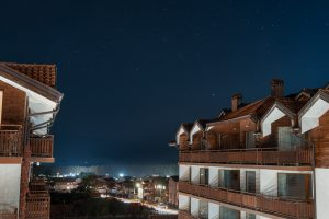 The starry night sky from our rented apartment in Bansko Bulgaria
