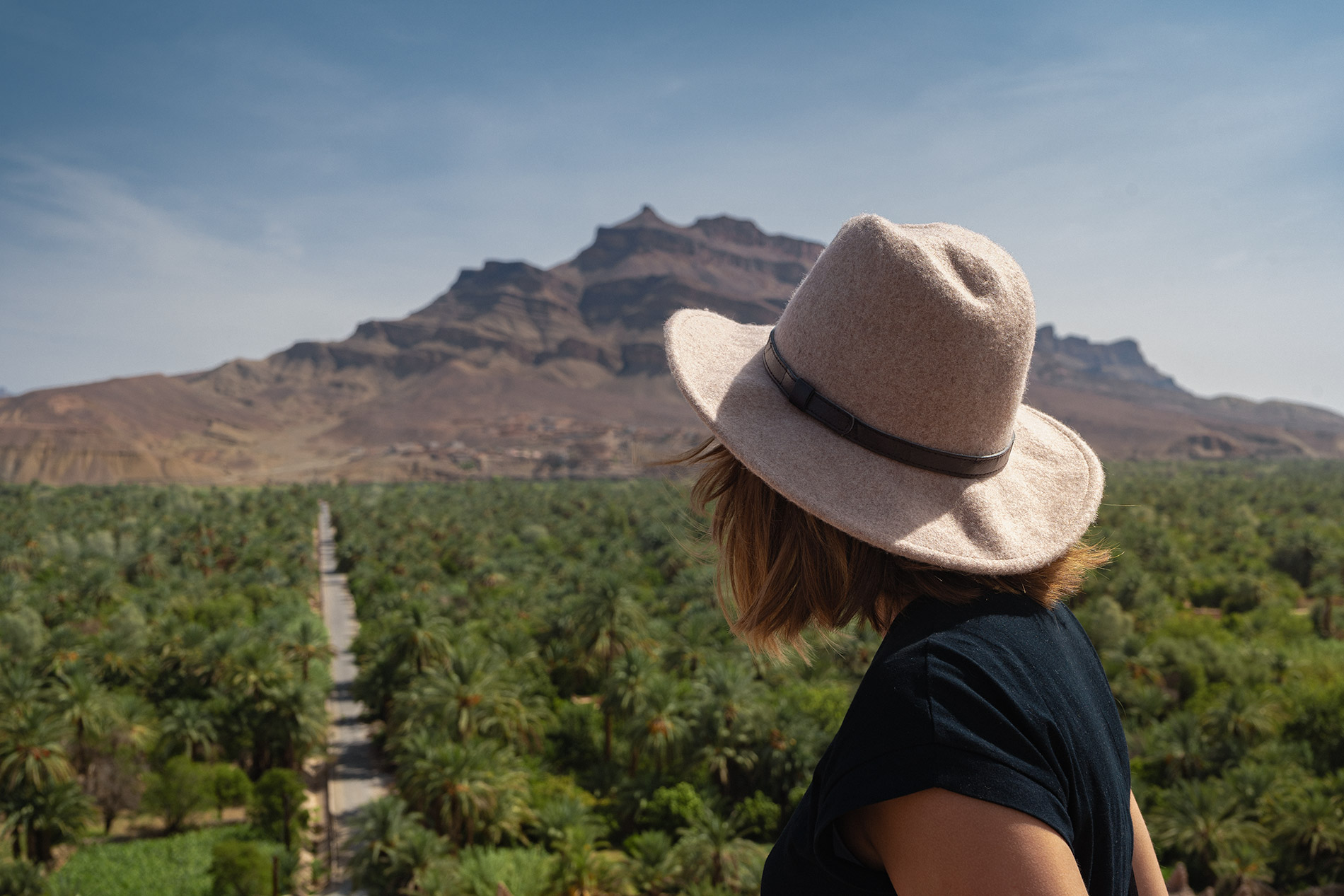 Maria taking in the stunning views of the Draa Valley during our desert trip in Morocco