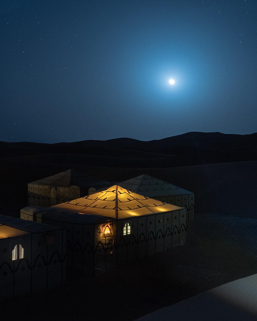 Spending the night in a magical luxury desert camp in the Sahara desert Morocco