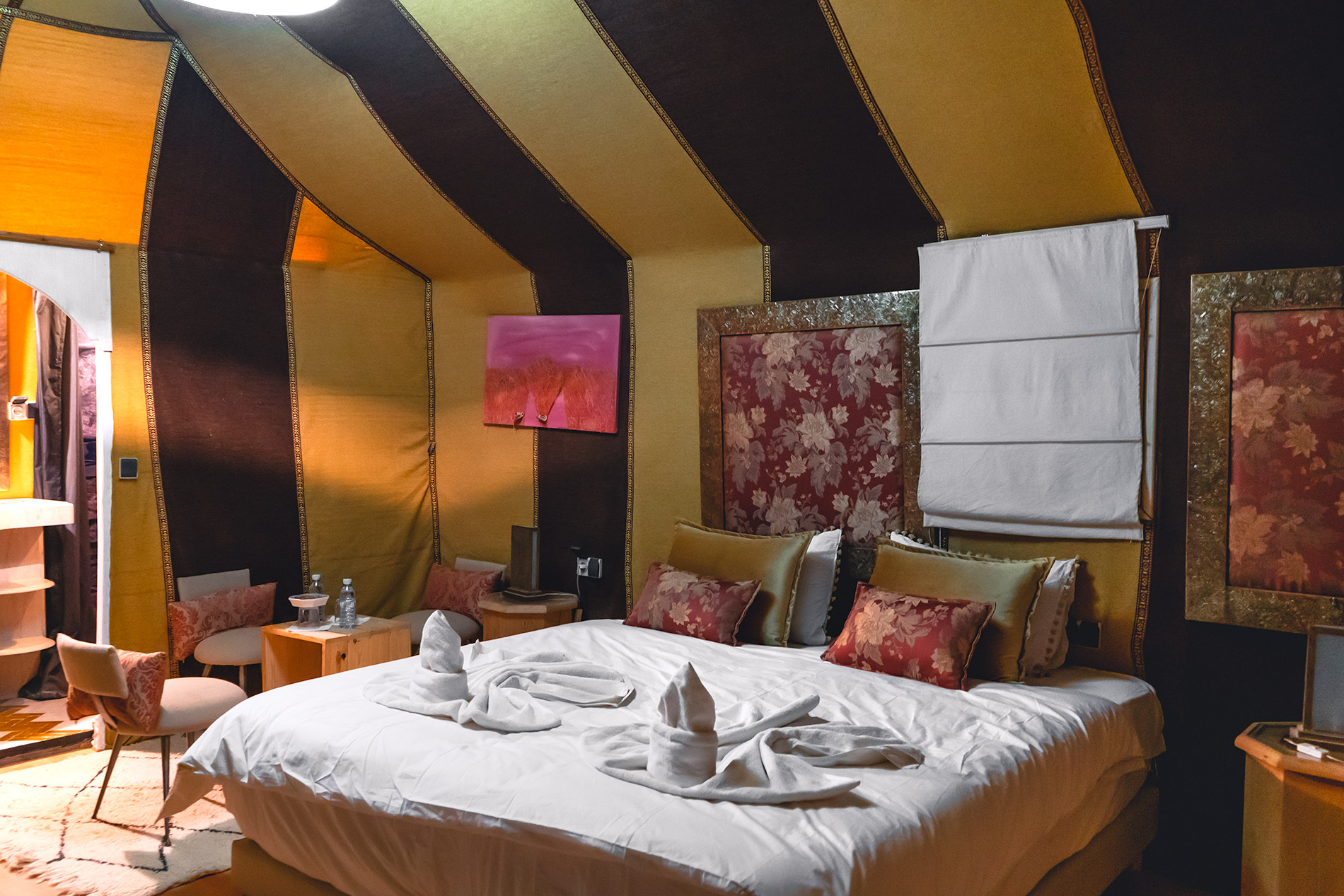 Our room at our luxury desert camp in Morocco