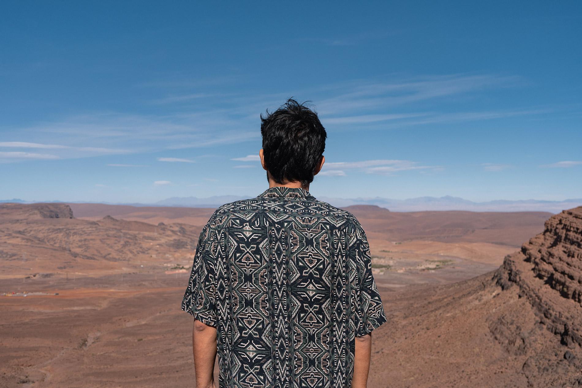 Rui taking in the arid views in Morocco