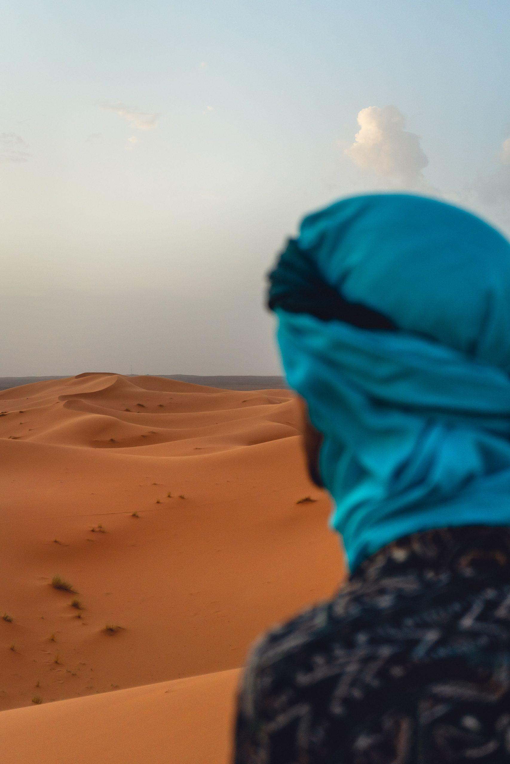 Rui taking in the views at the Egg Chebbi sand dunes in the Moroccan desert