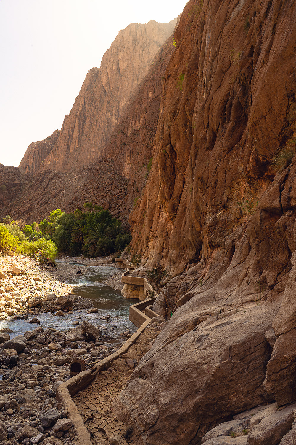 The sun getting into one of the most stunning canyons in the world in Morocco
